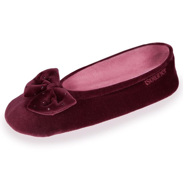 493ec2a4713 Chaussons FEMME Velours - grand noeud Isotoner   Janel chaussures ...
